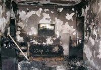 Burnt House of Baha'i family in Iran