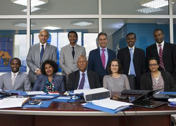 Staff and some of the associates of the Baha'i International Community Addis Ababa Office. Prof. Techeste Ahderom is in the center of the first row.
