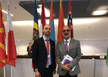 Mr. Jeff Simon (left) with Dr. Kishan Manocha, Senior Advisor on FoRB at the OSCE's Office for Democratic Institutions and Human Rights.