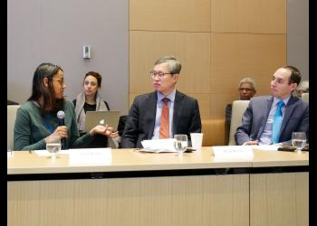 Other panelists included Natalie Samarasinghe from the United Nations UN75 Office (left) and  Ambassador Chull-Joo Park from the Republic of Korea (center). The conversation was moderated by Daniel Perell, Representative of the Baha'i International Community (right).
