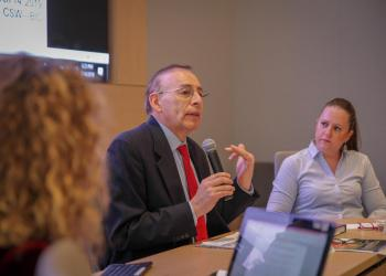 Augusto Lopez-Claros,senior fellow at the School of Foreign Services at Georgetown University, offers observations during a BIC side event