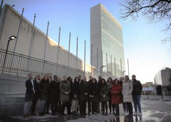 The Baha'i International Community delegation to the Commission on the Status of Women pictured outside of the UN in New York