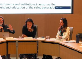 Elena Toukan, a Ph.D. student at the University of Toronto speaks during a BIC side event titled Illuminating the World: Education for Individual and Collective Flourishing