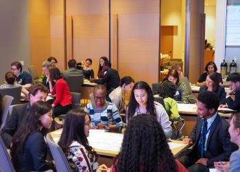 Participants broke off into groups and addressed various questions including the relationship between inequality and peace, the critical role of women in society and  the need for education that enables young people to become effective promoters of peace.